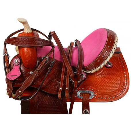 Pink Crystal Barrel Racing Western Horse Saddle 15 16