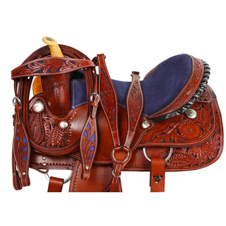Blue Hand Carved Barrel Racing Western Horse Saddle 15