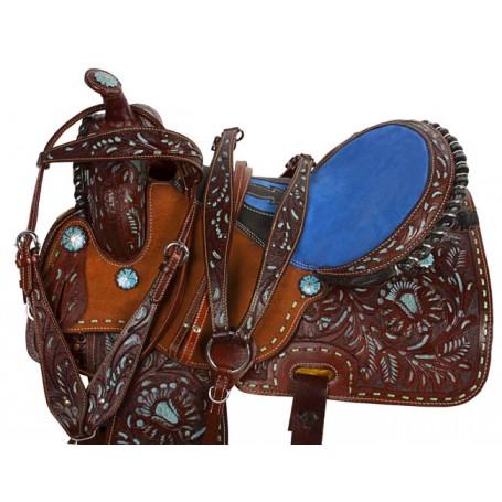 Blue Leather Barrel Racing Western Horse Saddle 17
