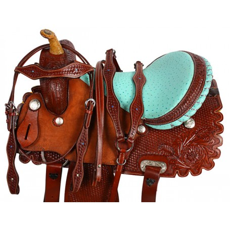 Turquoise Ostrich Western Barrel Racing Horse Saddle 15 16