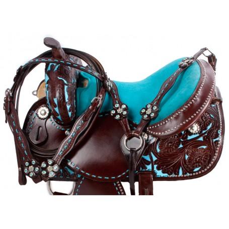 Dark Oil Turquoise Barrel Horse Western Saddle Tack 14 16