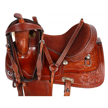Brown Leather Western Pleasure Trail Horse Saddle 16
