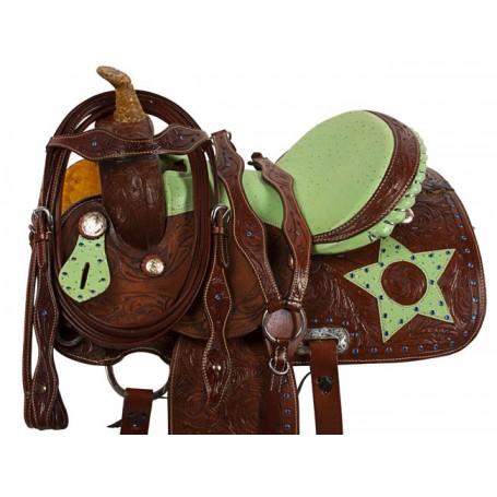 Green Ostrich Star Barrel Racing Western Horse Saddle 14