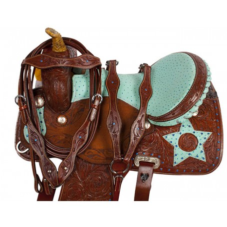 Turquoise Star Barrel Racing Western Horse Saddle 16