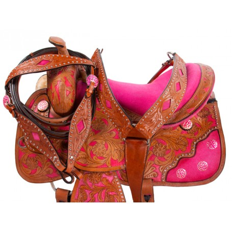 Pink Inlay Barrel Racer Western Horse Saddle 15 16