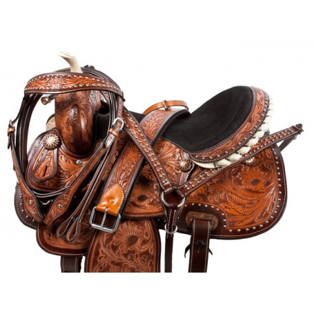 Studded Hand Carved Barrel Racing Western Horse Saddle