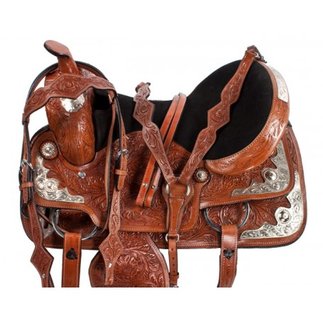 Silver Western Pleasure Trail Show Horse Western Saddle 16