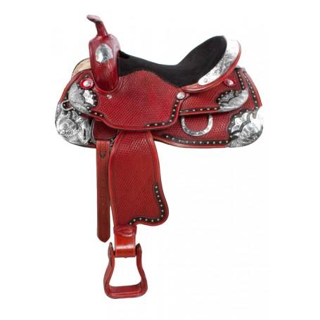 Basket Weave Mahogany Silver Horse Show Saddle 15