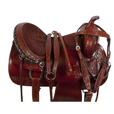 Brown Comfortable Pleasure Trail Western Horse Saddle 16