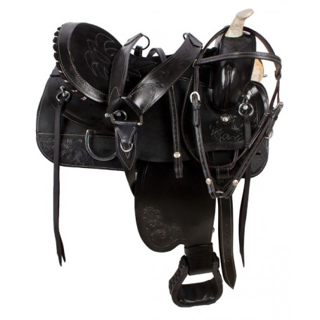 Black Pleasure Trail Barrel Racing Horse Saddle Tack 18