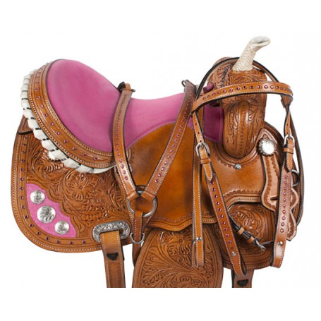 Pink Crystal Tooled Western Barrel Racer Horse Saddle 16