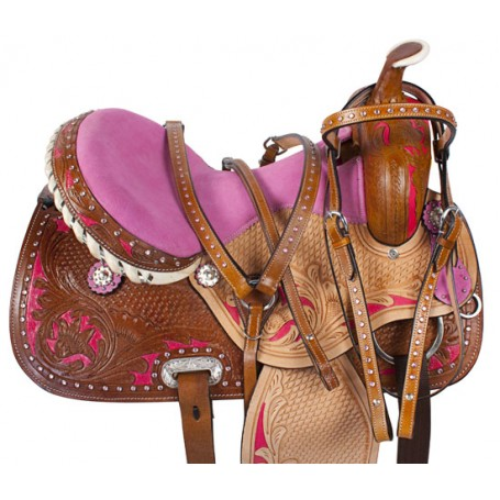 Pink Crystal Inlay Barrel Racing Horse Saddle Tack 17