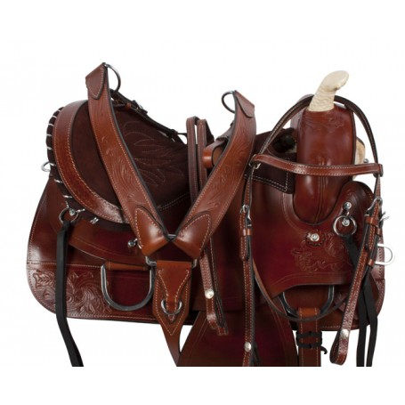 Brown Pleasure Trail Barrel Racing Horse Saddle Tack 15 18