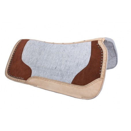 Brown Studded Gray Contour Felt Western Saddle Pad