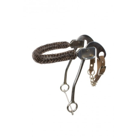 Brown Leather Braided Noseband Hackamore Bit