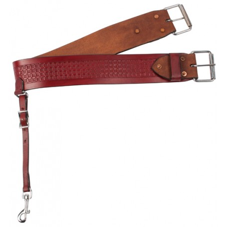 Mahogany Basket Weave Leather Rear Flank Back Cinch