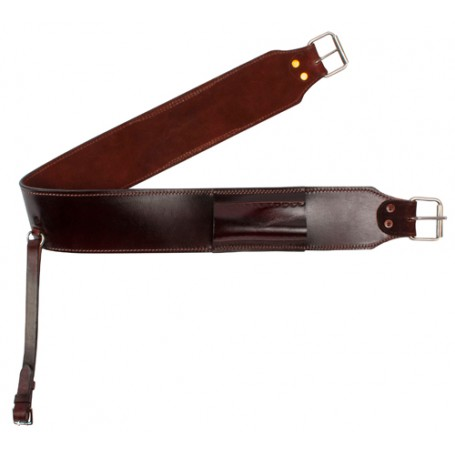 Dark Brown Thick Leather Rear Flank Back Cinch