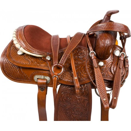 Tooled Comfortable Western Pleasure Trail Saddle 18