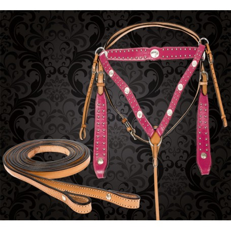 Pink Studded Western Horse Headstall Breast Collar Tack Set