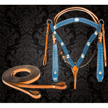 Blue Studded Western Horse Headstall Breast Collar Tack Set