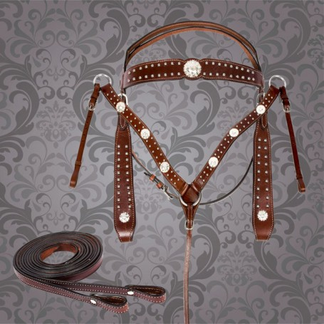 Brown Studded Western Horse Headstall Breast Collar Tack Set