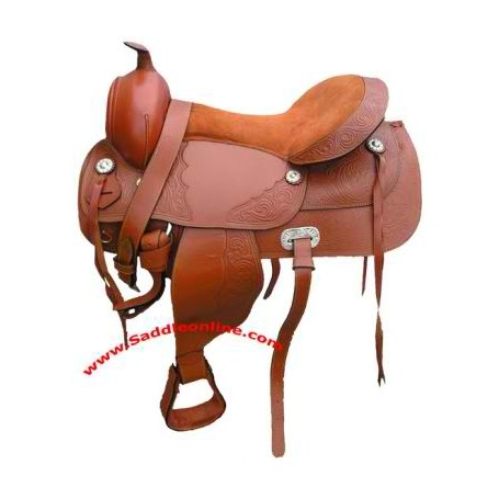 NEW 17 LEATHER ENGRAVED ROPING SADDLE WITH TACK