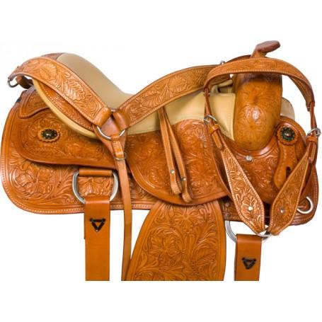 Hand Carved Reining Reiner Pleasure Trail Horse Saddle Tack