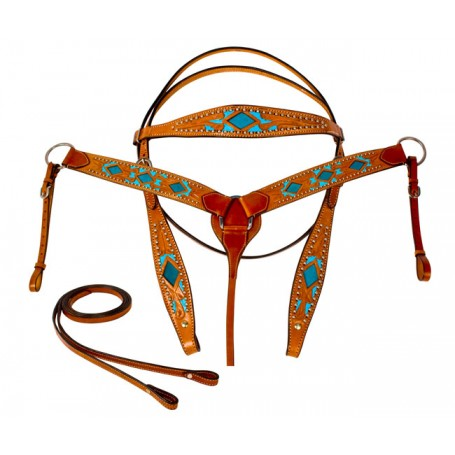 Turquoise Blue Inlay Western Horse Headstall Barrel Tack Set