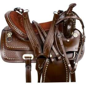 Silver Studded Brown Western Show Parade Horse Saddle 16