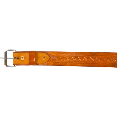 Natural Tan Leather Tooled Rear Flank Horse Back Cinch