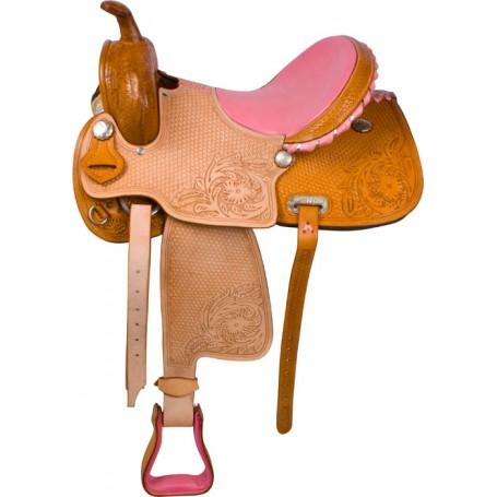 Pink Hand Carved Barrel Racing Western Horse Saddle 16