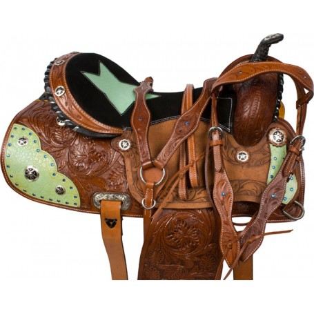 Turquoise Star Barrel Saddle Western Leather Horse 14 16