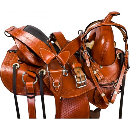 Brown Leather Western Treeless Horse Saddle Tack 14 16