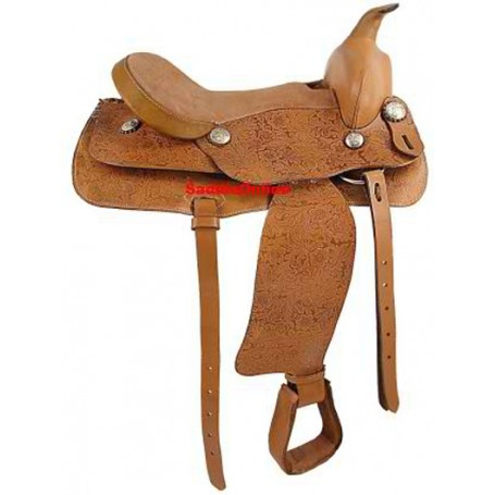 NEW 16 BEAUTIFUL TAN COWBOY TRAIL HORSE SADDLE