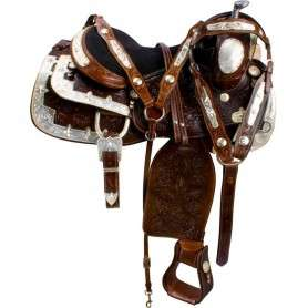 Dark Brown Silver Show Western Horse Saddle Tack 16