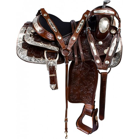 Dark Brown Floral Silver Show Western Horse Saddle Tack 16