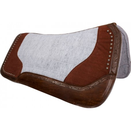 Dark Brown Studded Gray Contour Felt Western Saddle Pad
