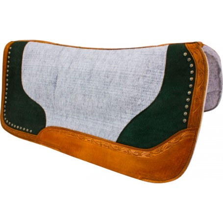Green Studded Grey Contour Felt Western Saddle Pad