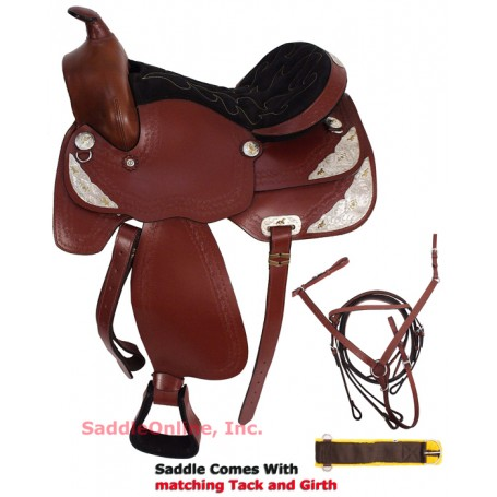 New 16 Gorgeous Tooled Silver Plated Show Horse Saddle.