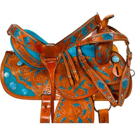 Hand Painted Turquoise Inlay Barrel Western Saddle 16