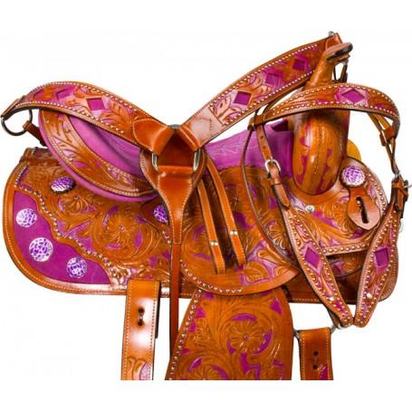 Hand Painted Purple Barrel Western Horse Saddle 16