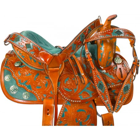 Hand Painted Green Barrel Racer Western Horse Saddle 16