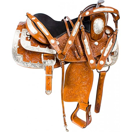 Hand Carved Silver Western Show Horse Saddle Tack 16