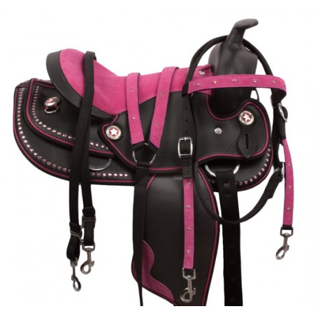 Pink Dura Leather Synthetic Western Horse Saddle 14 17