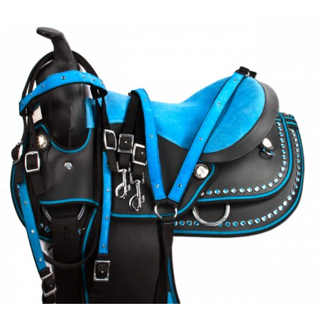 """Turquoise Blue Dura Leather Western Horse Saddle 15"""""""