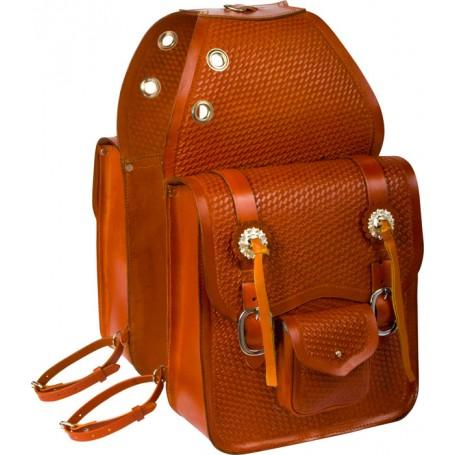 Extra Large Chestnut Tan Leather Basket Weave Saddle Bags