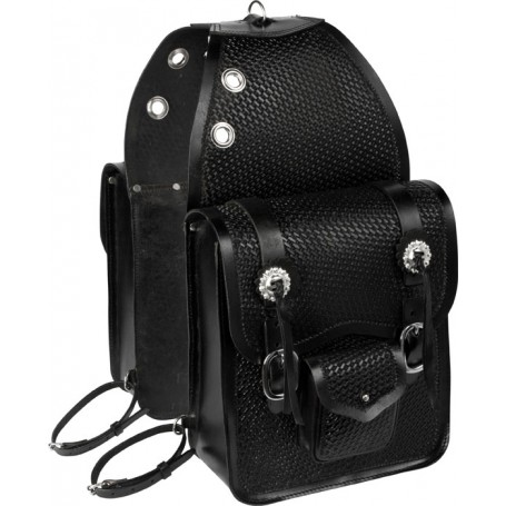 Extra Large Black Basket Weave All Leather Horse Saddle Bags