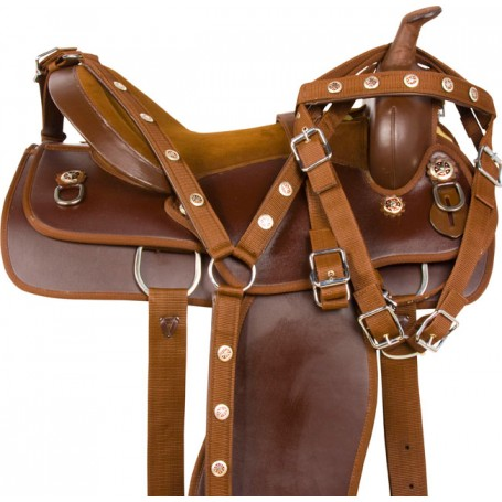 Brown Texas Trail Dura Leather Western Horse Saddle Tack