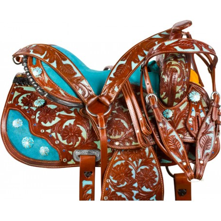 Blue Inlay Crystal Brown Barrel Racer Western Horse Saddle