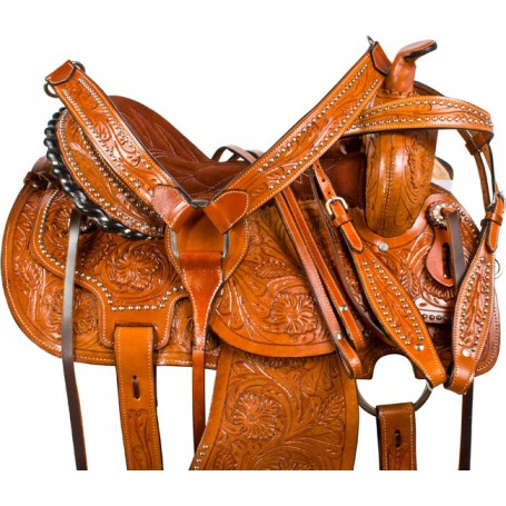 Brown Studded Barrel Racer Western Horse Saddle Tack 15 16